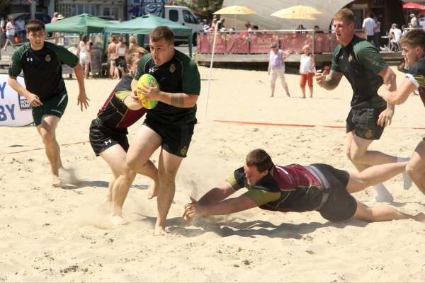 RNRU Beach Rugby the Lead Act at Weymouth