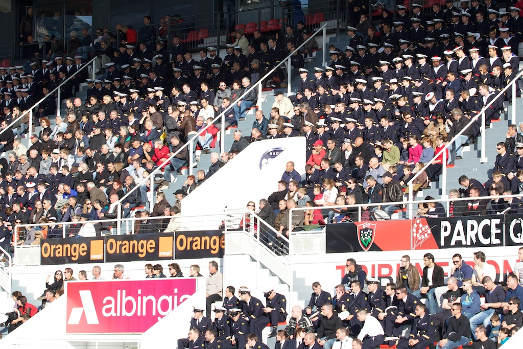 The Marine Nationale's supporters took over Stade Mayol's East stand