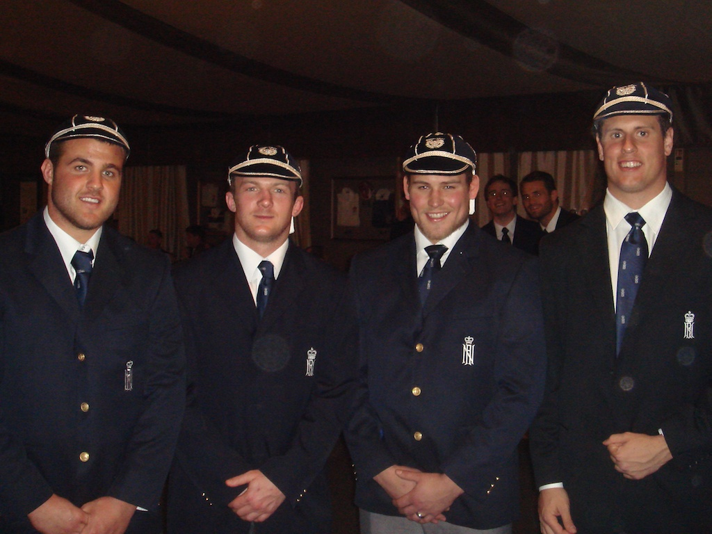 Making history.  Ian Cooper, Tom Evans-Jones, Sam Laird and Nial Copelenad in their 'new caps'.