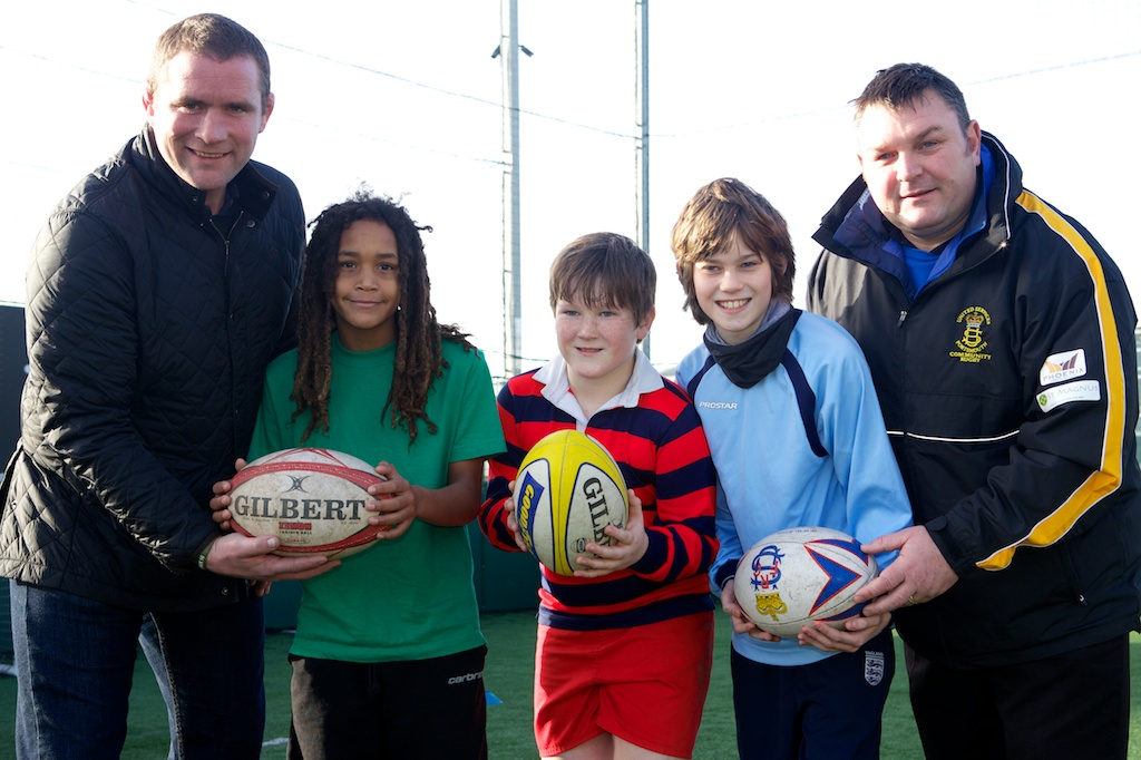 Two very distinguished props.  Si Burns in his current US Portsmouth RFC role and Phil Vickery encourage the next generation of rugby players.