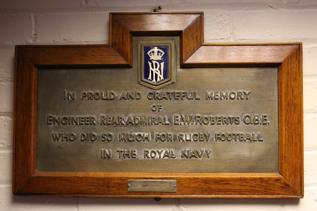 The plaque commemorating the contribution of Ernest Roberts to the Royal Navy Rugby Union