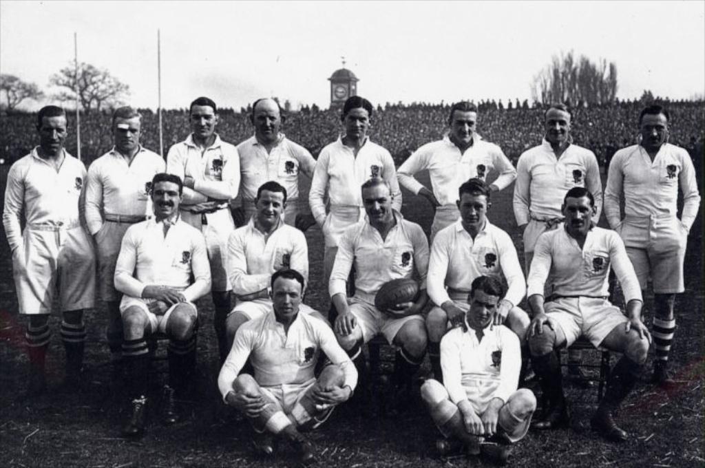 ]  William Luddington, back row far left, at Twickenham before the 1924 Calcutta Match between England and Scotland