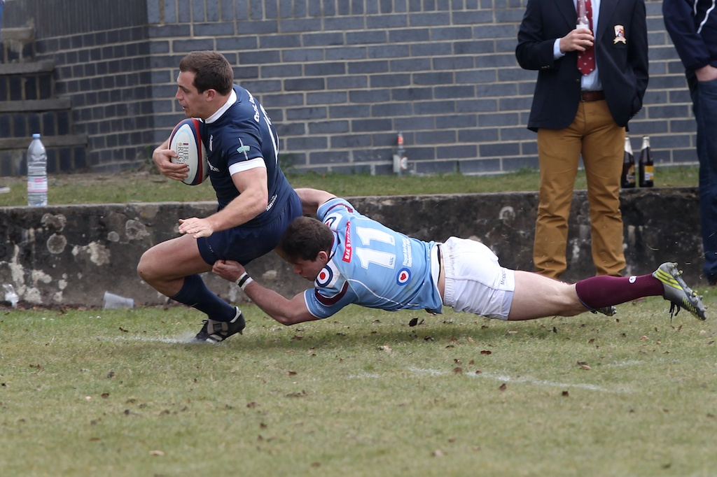 Dale Sleeman scores his second career try against the RAF last season.  Another who will be playing his last home game for the Royal Navy, a provider of four Inter Service tries and many happy memories.