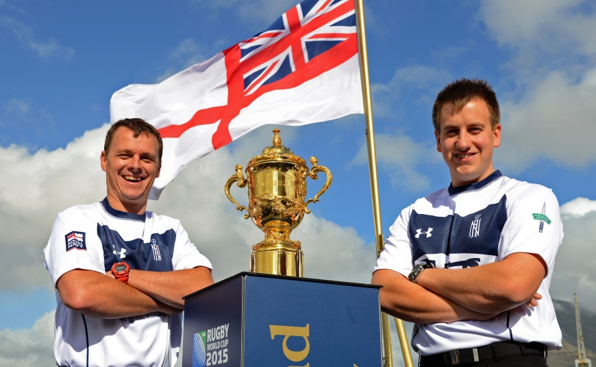 HMS Iron Duke Hosts The Webb Ellis Rugby World Cup